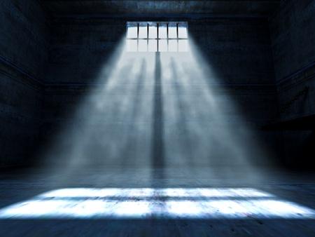 prison: fine 3d image of dark grunge prison