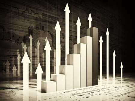 increase: fine 3d image of financial business chart