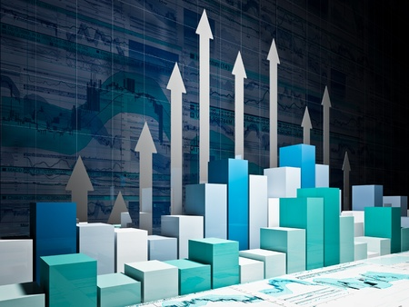 fine 3d image of financial business chart Stock Photo