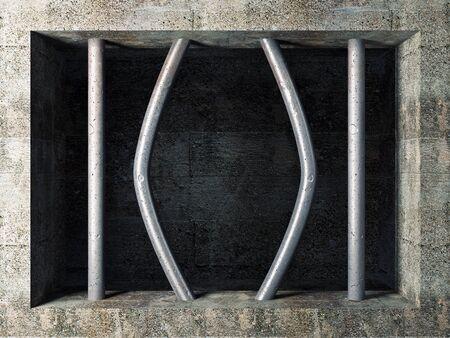 escape from prison: 3d image of prison windows wirh broken bar