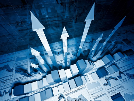 fine 3d image of growing arrows and business chart Stock Photo - 9991117