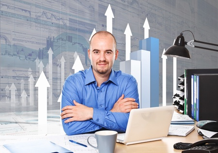 caucasian businessman at work with 3d business chart background Stock Photo - 10095887