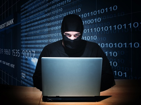 balaclava: portrait of caucasian hacker with balaclava