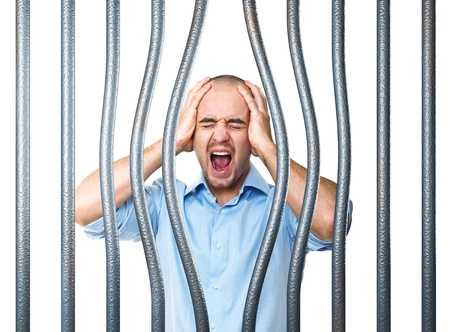 bended: desperate stressed man and 3d bended bar Stock Photo