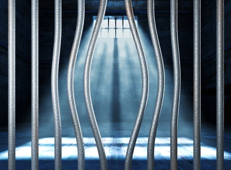 prison 3d and bended metal bar background Stock Photo - 10096035