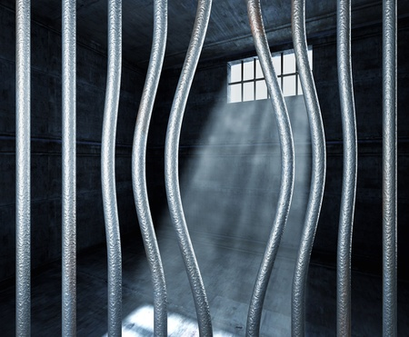 prison 3d and bended metal bar background photo