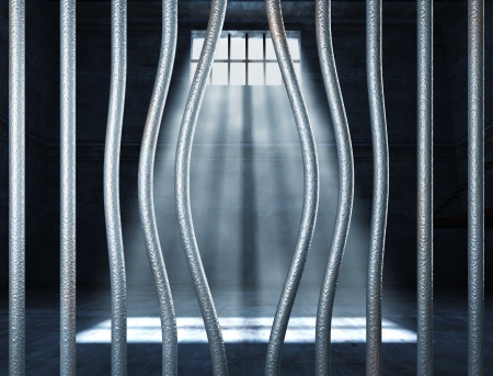prison 3d and bended metal bar background Stock Photo - 10096039