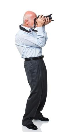 portrait of senior caucasian man with camera isolated on white Stock Photo - 10213441