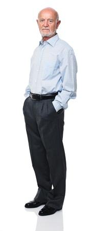 old man standing: portrait of senior caucasian worker