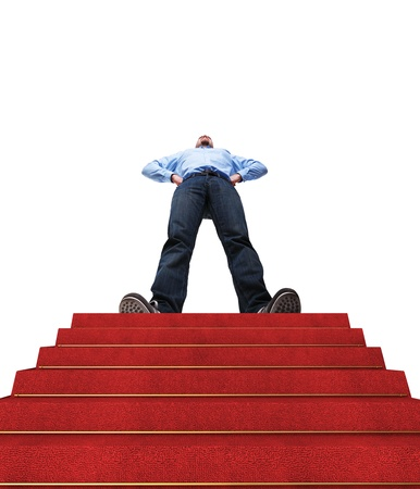 up stair: standing man and stair with red carpet
