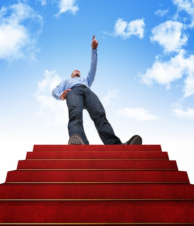 standing man and stair with red carpet Stock Photo - 10213473
