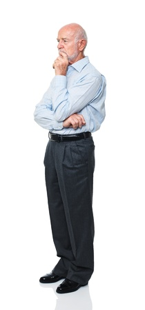 standing man: standing old man isolated on white background