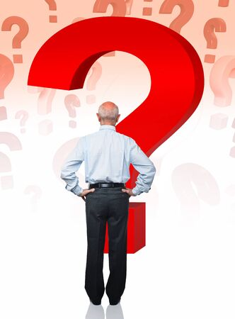 portrait of senior caucasian worker with question mark Stock Photo - 10259935