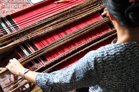 weaving: traditional malaysian loom detail Stock Photo