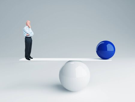 small scale: senior and  ball rendering in false balance