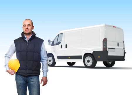 confident manual worker and truck background photo