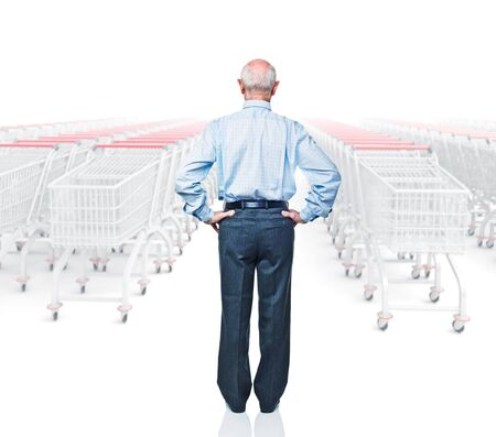 shopping questions: standing man rear view and 3d trolley Stock Photo