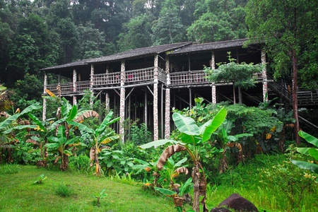 borneo: longhouse in borneo, traditional construction Stock Photo
