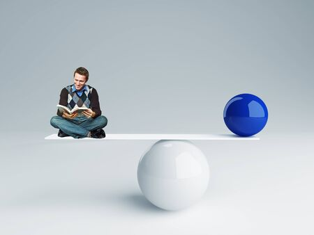 man and  ball rendering in false balance photo