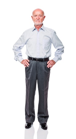 old man standing: fine portrait of senior man Stock Photo