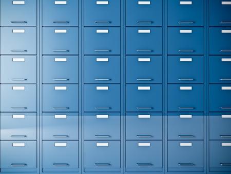 file cabinet: buena imagen en 3D de archivador azul Foto de archivo
