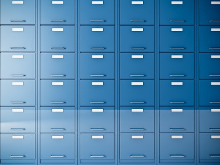 fine 3d image of blue file cabinet
