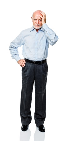 old man: isolated standing caucasian old man