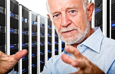 datacenter: senior in  datacenter with lots of server