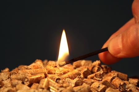 wood pellet: closeup on wood pellet with start fire flame