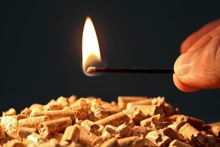 Gros plan sur granulés de bois avec une flamme d'incendie démarrage Banque d'images