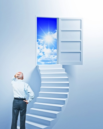 blue sky thinking: standing senior look open door at the end of stair