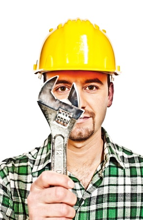 wrech: manual worker with classic wrech tool infront of him