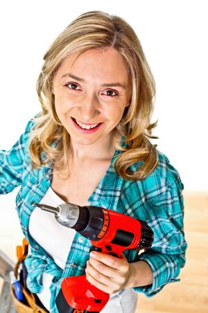 smiling young caucasian woman at work photo