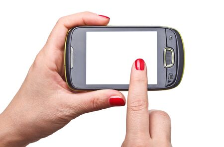 detail of woman hands holding modern smart phone Stock Photo - 10782448
