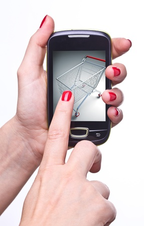 online auction: detail of woman hands holding modern smart phone Stock Photo