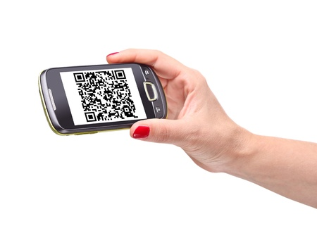 hand holding smartphone with qr code photo