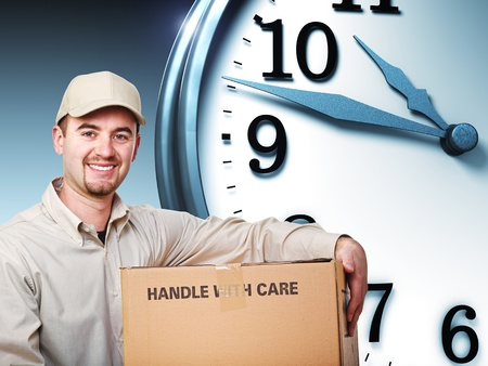 smiling delivery man and 3d clock photo