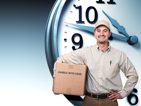 delivery man: smiling delivery man and 3d clock