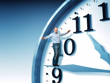 man balance on 3d clock Stock Photo - 10937378