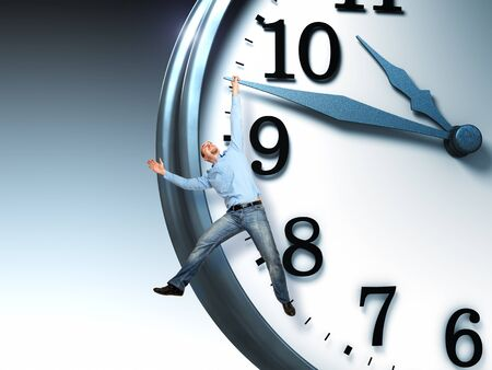 man hang on 3d clock Stock Photo - 10937380