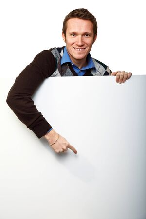 young man with white board Stock Photo