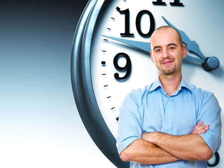crossed arms: confident man crossed arms and 3d clock Stock Photo