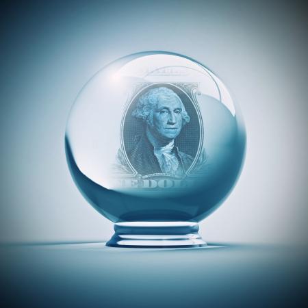 adivino: bola de cristal con el dólar en el interior