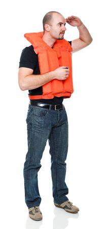 flotation: man with Personal flotation device