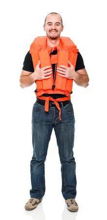 flotation: man with Personal flotation device