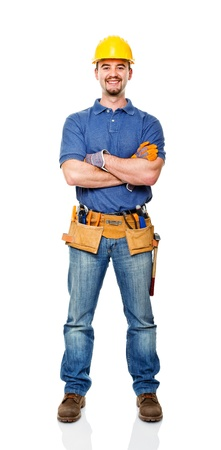 happy handyman crossed arms isolated on white