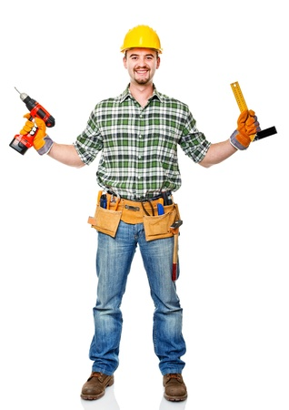 smiling caucasian handyman with tools photo