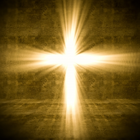 prayer: 3d image of cross of light Stock Photo