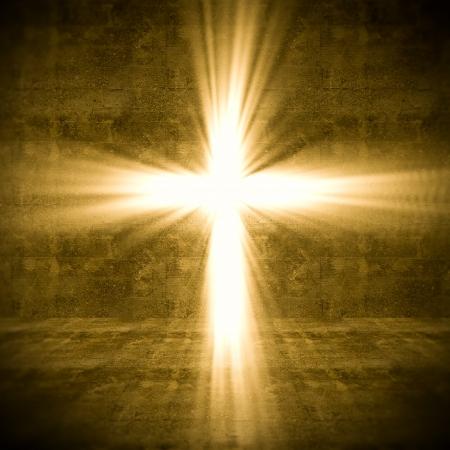 resurrección: Imagen 3d de cruz de luz