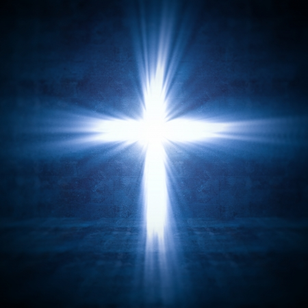 resurrected: 3d image of cross of light Stock Photo